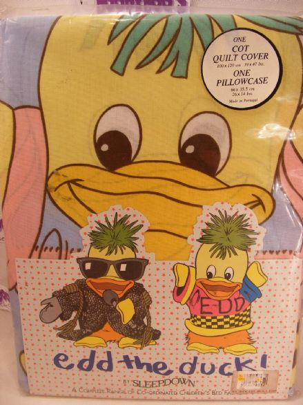MISB VINTAGE EDD THE DUCK COT QUILT COVER N PILLOWCASE